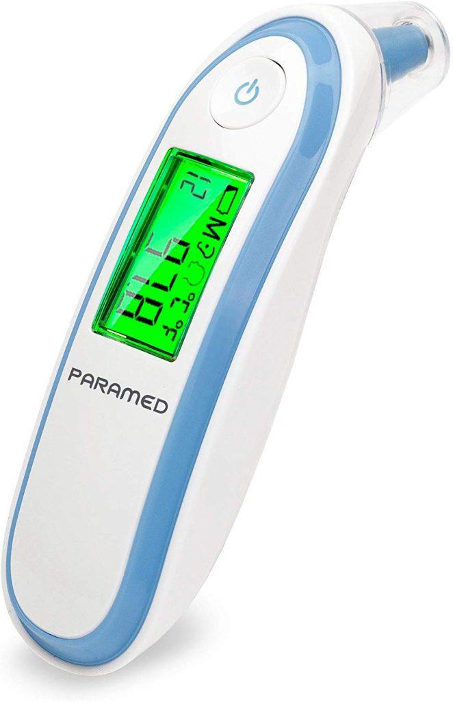 Paramed Termómetro Digital Infrarrojo | Control de Temperatura para Oído y Frente | Bebé, Niño y Adulto | Rápido, Preciso, Seguro y Aprobado FDA | Alarma de Fiebre, Modo F° y C° - Apagado Automático