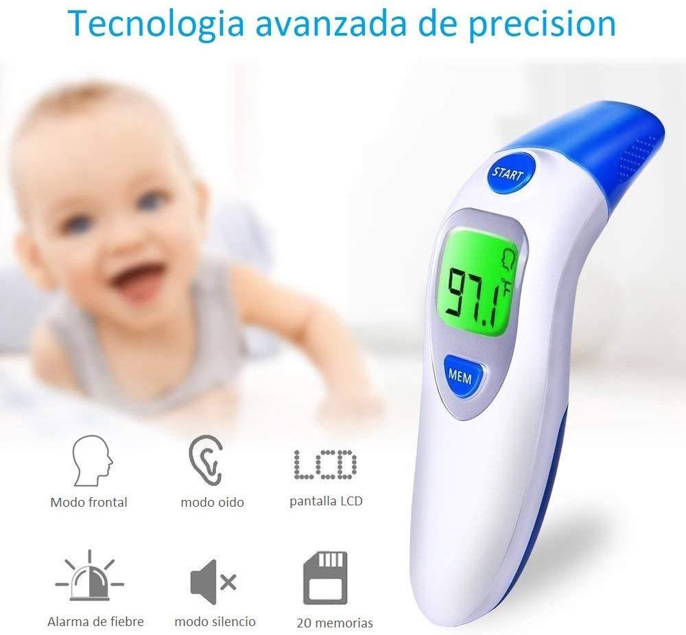 Termometro digital 2 en 1, medicion atravez de frente y oido- aprobado por la FDA y CE, equipo profesional para bebes, niños, y adultos